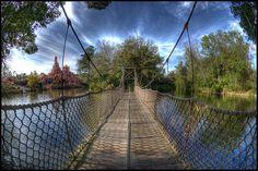 Rope and wood bridge at Tom Sawyer Island, Magic Kingdom, Walt Disney World Resort, Lake Buena Vista, Florida: Photographer Spencer Lynn
