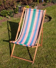 Vintage Retro DECKCHAIR Candy Striped Seaside Glamping Garden by UpStagedVintage on Etsy