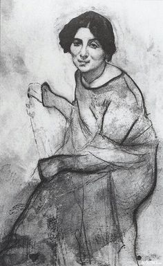 Portrait of the pianist Wanda Landowska, 1907 Valentin Serov Strong contour lines define forms Life Drawing, Figure Drawing, Drawing Sketches, Painting & Drawing, Art Drawings, Russian Painting, Russian Art, Figurative Kunst, Edvard Munch