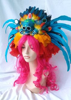 day of the dead headpiece blue fully loaded rhinestoned skull  black and blue yellow feathers www.pamzylove.com