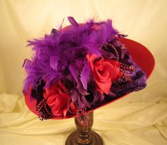 Red Satin Hat with Red Roses and Purple Roses