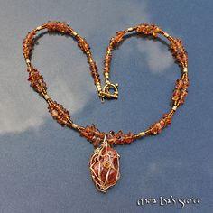 Amber Cracked Quartz Necklace, Amber Quartz Jewelry, Honey Necklace, Wire Wrapped Stone, Quartz Jewelry, Amber Jewelry, Mothers Day Necklace