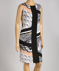 Another great find on #zulily! Black & Gray Abstract Shift Dress - Plus by Tiana B #zulilyfinds