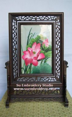 Lotus Flower, double-sided embroidery work, one embroidery two identical sides, Chinese Suzhou silk embroidery art, Su Embroidery Studio