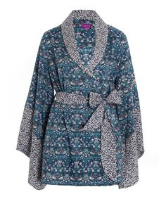 Liberty Print Blue Strawberry Thief Cotton Kimono