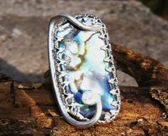 Abstract Abalone Ring in Sterling Silver by GoldiesNaturalGems, $50.00