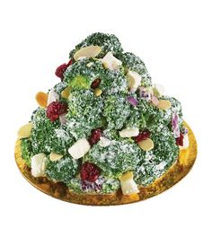 Crunchy Broccoli Salad with Mediterranean Feta Cheese, Dried Cranberries, Roasted Almond Flakes in Creamy Honey Dressing from #YummyMarket Hoilday Menu