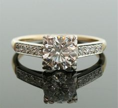 1940s Engagement Ring  Two Tone Diamond Ring by SITFineJewelry
