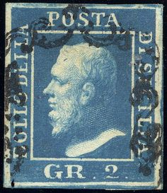 1859 stamp of King Ferdinand II (King of the Two Sicilies) with a deferential cancellation intended to respectfully preserve the image of his face.