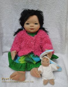 """SALE! Fretta's OOAK Clay & Cloth Baby Doll, Soft Sculpted weighted 18"""" - 46 cm tall Baby Girl. Curly Dark Brown Hair / Brown Eyes."""