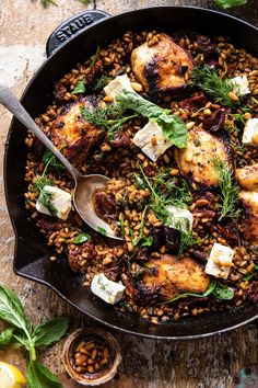 The Rise Of Private Label Brands In The Retail Meals Current Market One Skillet Greek Sun-Dried Tomato Chicken And Farro Diet Dinner Recipes, Winter Dinner Recipes, Cooking Recipes, Healthy Recipes, Skillet Recipes, Protein Recipes, Sundried Tomato Chicken, Greek Chicken, Half Baked Harvest