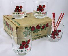 Four Roses Whiskey Set of On the Rocks Glassware Rocks 'N Roses Vintage Barware #FourRoses