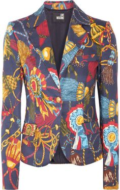 LOVE MOSCHINO   Printed Stretch Cottontwill Blazer - Lyst