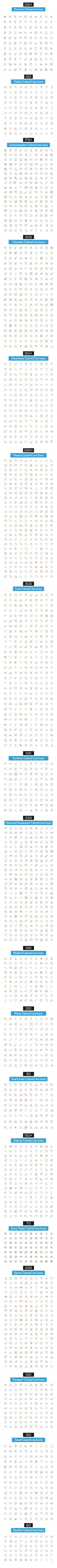 2600+ Colored Line Icons - 30% off this week!