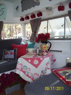 Little table in vintage trailer.