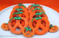 chocolate covered pretzels | chocolate covered pumpkin pretzels... | Halloween