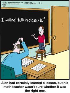 Rubes comic strip by Leigh Rubin, Aug. Math Cartoons, Math Comics, Teacher Comics, Funny Cartoons, Nerd Puns, Nerd Humor, Teacher Memes, Math Teacher, Teacher Stuff
