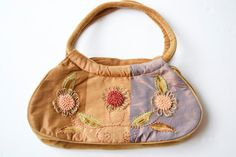 bolso de tela con flores vendimia por Limbhad en Etsy