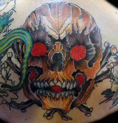 Shino-Patrick Sanner- Devils Hand Tattoo Braunschweig- Rücken Skull Schädel Traditional