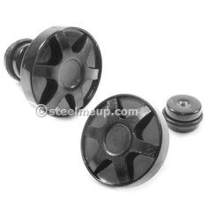 Pair Stainless Steel Big Cute Button Screw Stud Earrings Black Plated