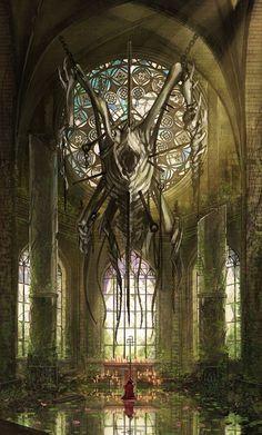 heathen by Ariduka on DeviantArt High Fantasy, Dark Fantasy Art, Fantasy World, Dark Art, Fantasy Concept Art, Fantasy Artwork, Arte Horror, Horror Art, Lovecraftian Horror