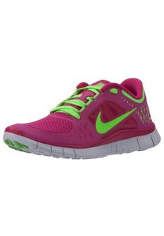 WMNS Nike Free Run +3 Color:510643 601:Fireberry/Electric Green-Pro Platinum-Electric Green