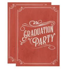 Victorian Red Vintage Graduation Party Invite - graduation party invitations card cards cyo grad celebration