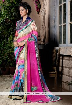 Astonishing Multicolor Lace Work Printed Saree
