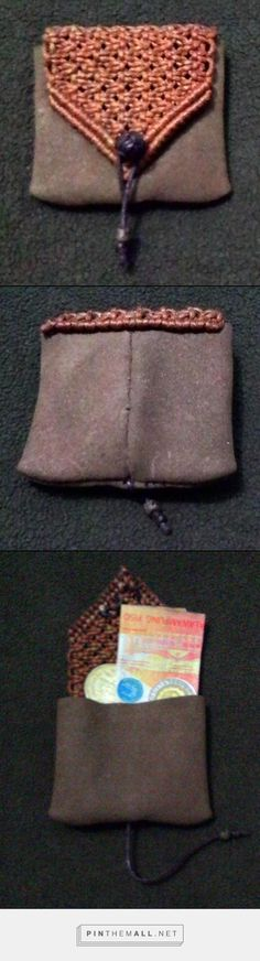 using scrap leather and scrap cord to make a coin purse.