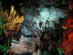 Colors inside the cave, Taulabe Caves, Honduras Honduras, Rock Formations, Central America, Places To See, Cave, Waterfall, Beautiful Places, Scenery, World