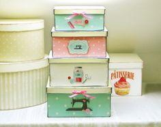 Shabby Boxen-Set ★ SEW VINTAGE ★ handgefertigt von The Sweet Home Shop auf DaWanda.com