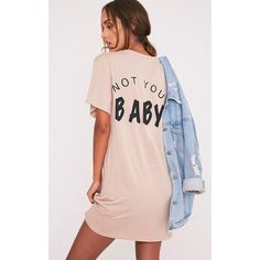Not Your Baby Nude T-Shirt Dress (16 CAD) ❤ liked on Polyvore featuring dresses, pink, pink leather dress, oversized jersey dress, pink jersey, jersey t shirt dress and oversized t shirt dress
