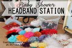 Baby Shower Headband Station. This is such a great alternative to baby shower games! It's perfect for a baby girl baby shower! Find it, make it, love it!