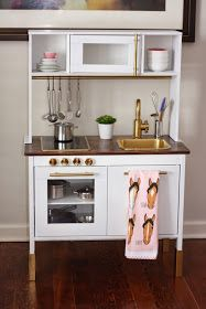 A Life In Detail: IKEA Play Kitchen Hack   Wood Counter, Gold Accents!