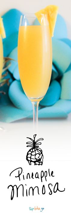This pineapple mimosa is 10x better than the regular version with OJ. Grab the champagne, but skip the OJ. Liven up your next brunch with this easy pineapple mimosa recipe. http://www.sipbitego.com/pineapple-mimosa-brunch-cocktail/