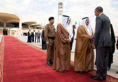 Saudi officials welcome President Obama at King Khalid International Airport in Riyadh today.