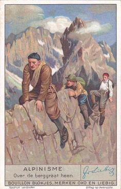 """Alpinisme: Over de berggraat heen""  1935 Leibig Alpine Climbing trading card"