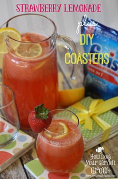 Learn the secret to spotless glasses with Finish® Max in One™. Plus a fun DIY Coaster project and a refreshing Strawberry Lemonade drink to enjoy at your next party. #Ad #ShowMeTheShine