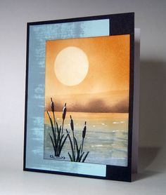 handmade card ... lovely scene: Waterfront ... sponging and stamping ... like the layout for its modern look ... Gina K Designs ...