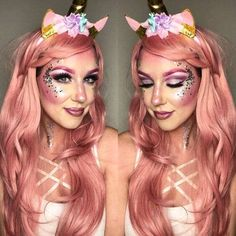 """25 Ways to be the Queen of Unicorn Makeup We. Have you ever thought to yourself """"I just want to wear glittery, pastel, rainbow-colored unicorn makeup and look like an ethereal queen""""? 25 Unicorn Makeup Ideas that . Unicorn Halloween, Unicorn Costume, Halloween Make Up, Halloween Face Makeup, Scarecrow Makeup, Fairy Makeup, Makeup Art, Makeup Tips, Eye Makeup"""