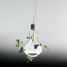 Lamps and Lighting – Home Decor : Interior Design Magazine:J. Schmetterling light bulb with eight hand-made insect models by INGO MAURER LLC. -Read More – Diy Luminaire, Diy Lampe, Luminaire Design, Lamp Design, Modern Lighting, Lighting Design, Industrial Lighting, Pendant Lamp, Pendant Lighting
