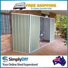ABSCO EZISLIDER GARDEN SHED 3X0.78M COLORBOND PALE EUCALYPT STORAGE SLIDING DOOR