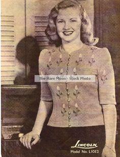 Vintage Knitting Pattern 40's Jumper Rosebud Embroidery | eBay