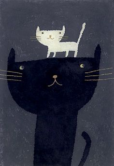 #animal #illustration #cute #cat #black #white #dark