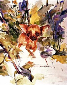Chihuahua watercolor art For Leslie Abstract Watercolor Art, Watercolor Animals, Watercolor And Ink, Watercolor Paintings, Watercolors, Chihuahua Art, Dachshund, Dog Art, Images