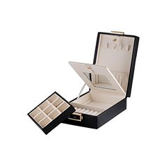 Black Laminated Leather Double Layer Travel Jewellery Storage Case Box w/ Lock & Mirror MBLife - Personalize Your Surprise http://www.amazon.co.uk/dp/B008N5Q0DK/ref=cm_sw_r_pi_dp_4MDXvb1XGSSQV