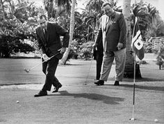 """Presidential nominee RICHARD NIXON and comedian JACKIE GLEASON play a few holes in Key Biscayne, Florida. Nixon's vacation home on the tiny island became known as the """"Winter White House"""" during his presidency. Famous Comedians, Great Society, Jackie Gleason, Key Biscayne, Pictures Of People, Golf Pictures, Oral History, Great Leaders, Play Golf"""