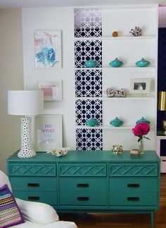 dyi-great turquoise color on a vintage dresser. Perfect!