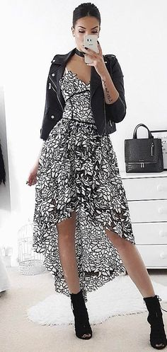 ellegant fall outfit : black moto jacket + printed dress + boots