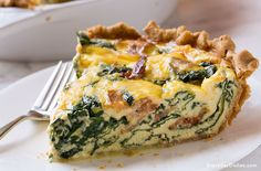 This savory bacon spinach quiche recipe is hearty, delicious and easy to prepare! Make it with a homemade pie crust for an extra special touch.